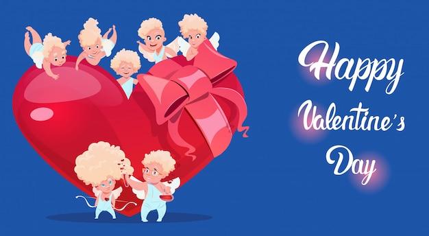 Valentijnsdag geschenk kaart feestelijke amour liefde cupido hart vorm