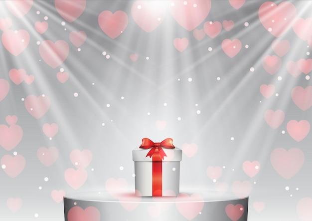 Valentijnsdag geschenk op een podium onder schijnwerpers
