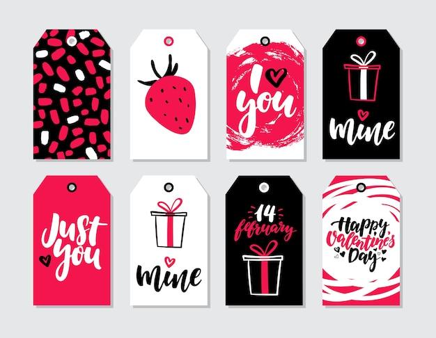 Valentijnsdag geschenk tag vector set. verzameling van hand getrokken afdrukbare kaartsjablonen met