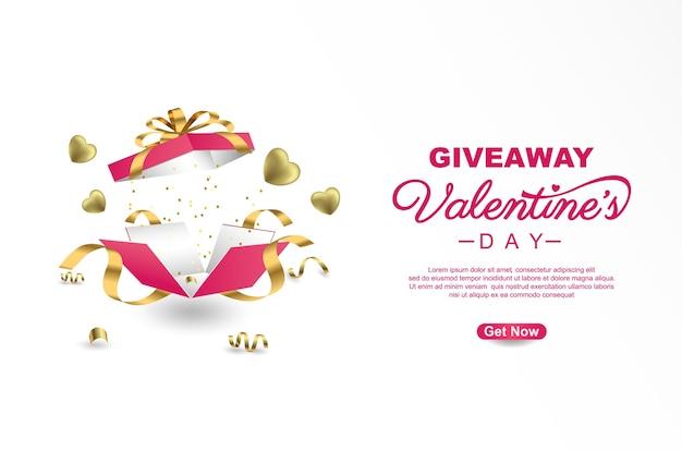Valentijnsdag giveaway sjabloonontwerp van de banner