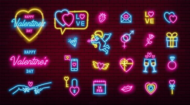 Valentijnsdag gloeiende neon iconen pack.