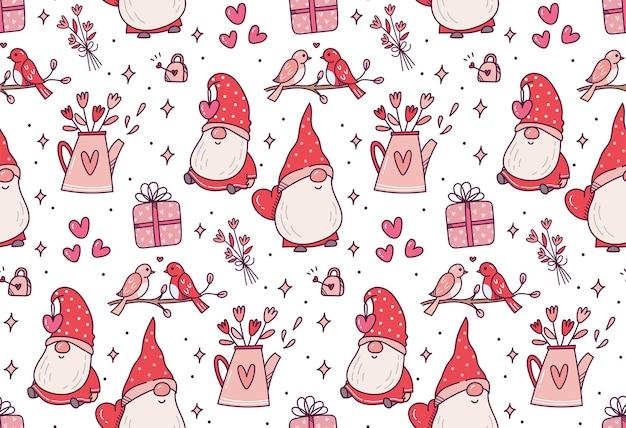 Valentijnsdag gnome naadloze patroon