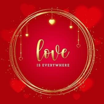 Valentijnsdag gouden banner met glitter op rode achtergrond