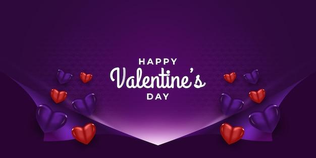 Valentijnsdag groet banner met 3d harten en open inpakpapier achtergrond