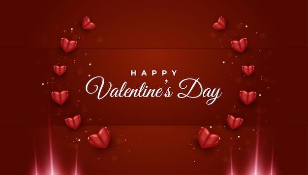 Valentijnsdag groet banner met rood hart ornament en gloeiend licht op rode papier achtergrond