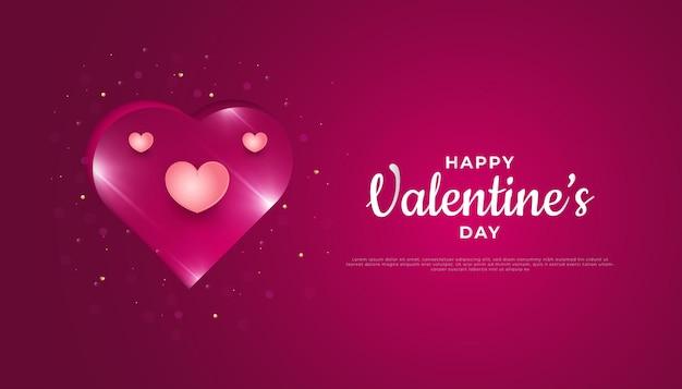 Valentijnsdag groet banner met roze harten en papier gesneden achtergrond