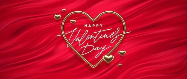Valentijnsdag groet. hartvormig gouden frame op een rode vloeiende golvenachtergrond. symbool van de liefde.