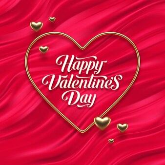 Valentijnsdag groet. kalligrafie en realistische gouden metalen harten op rode vloeiende golven achtergrond.
