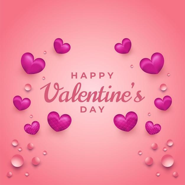 Valentijnsdag groet met hartjes en vloeistof op roze achtergrond