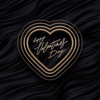 Valentijnsdag groet. realistische gouden metalen harten op zwarte vloeiende golven achtergrond. symbool van de liefde.