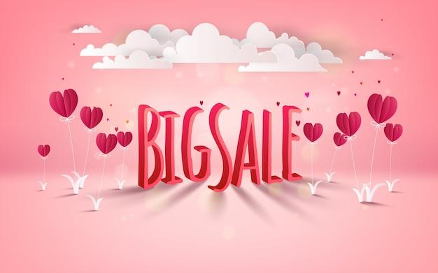 Valentijnsdag grote verkoop achtergrond met hartvormige ballonnen bloem en bewolkt.