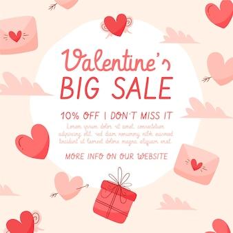 Valentijnsdag grote verkoop hand getrokken