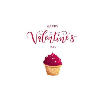 Valentijnsdag hand belettering tekst met cupcake.