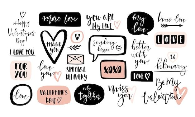 Valentijnsdag hand getekende kalligrafie met elementen van de liefde