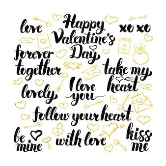 Valentijnsdag hand getrokken belettering. vectorillustratie van liefde kalligrafie over wit.