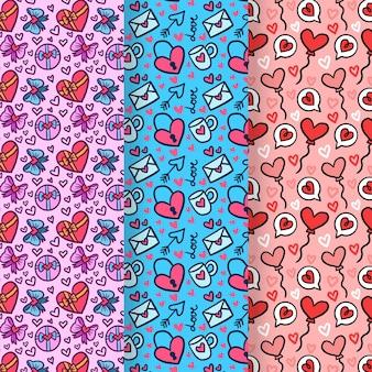 Valentijnsdag hand getrokken patroon set