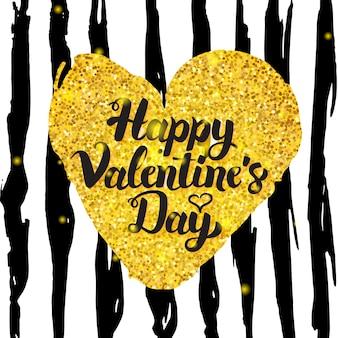 Valentijnsdag handgeschreven kaart. vectorillustratie van liefde groet ansichtkaart met kalligrafie. handgetekende ontwerpelementen.