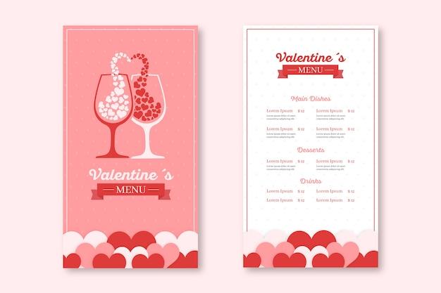 Valentijnsdag handgetekende menusjabloon
