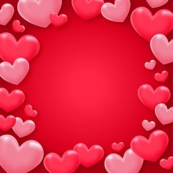 Valentijnsdag hart liefde achtergrond Premium Vector