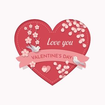 Valentijnsdag hart. papierstijl met onscherpe schaduw. roze hart met bloemen, takken en vogels. ik hou van je, valentijnsdag tekst