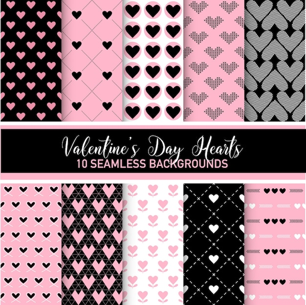 Valentijnsdag hartpatronen - 10 naadloze achtergronden