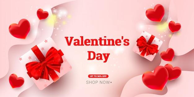 Valentijnsdag horizontaal met glanzende roze geschenkdozen, bubbel rood hart en confetti op liqvid roze