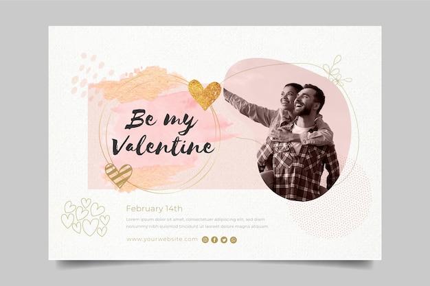Valentijnsdag horizontale banner sjabloon met foto