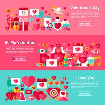 Valentijnsdag horizontale webbanners. vlakke stijl vectorillustratie voor website header. liefde objecten.