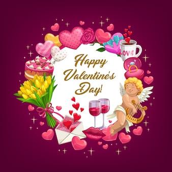 Valentijnsdag hou van harten, ballon, bloemen, ring