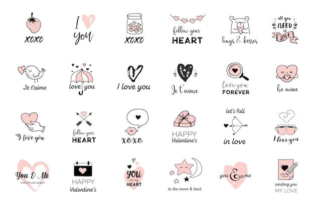 Valentijnsdag iconen en grafische elementen collectie