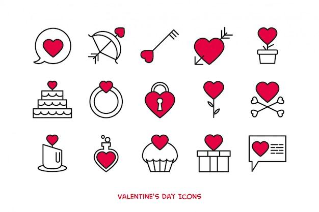 Valentijnsdag iconen set