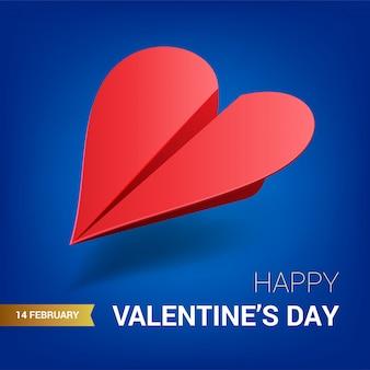 Valentijnsdag illustratie. rood papieren vliegtuig gevormd van hart.