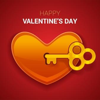 Valentijnsdag illustratie. sleutel tot het hart als een symbool van lov