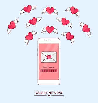 Valentijnsdag illustratie. stuur of ontvang liefdes sms, brief, e-mail met mobiele telefoon. witte mobiel op achtergrond. envelop, vliegend rood hart met vleugels. , icoon.