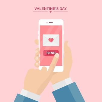 Valentijnsdag illustratie. stuur of ontvang liefdes-sms, brief, e-mail met mobiele telefoon.