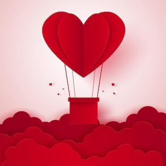 Valentijnsdag illustratie van liefde hete luchtballon in een hartvorm die in de lucht vliegt