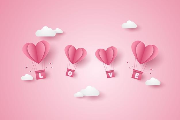 Valentijnsdag illustratie van liefde roze hart hete lucht ballonnen vliegen in de blauwe lucht