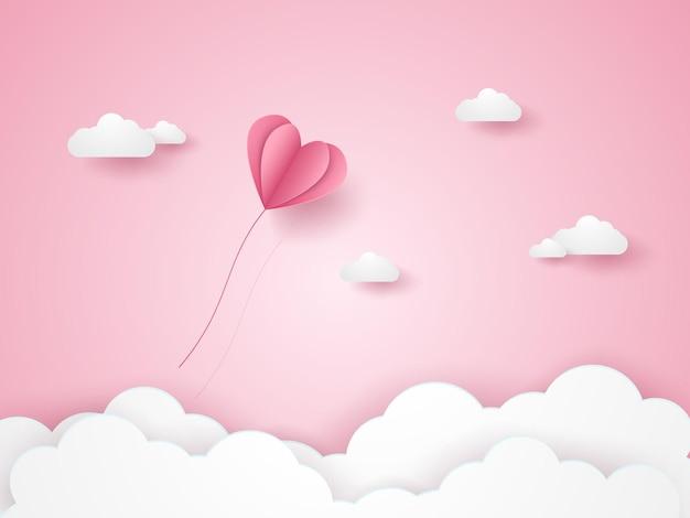 Valentijnsdag, illustratie van liefde, roze hartballon die in de roze lucht vliegt, papierkunststijl