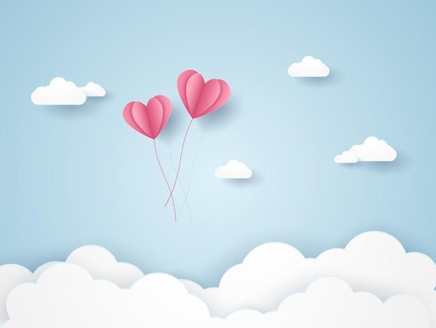 Valentijnsdag, illustratie van liefde, roze hartballonnen die in de blauwe lucht vliegen, papierkunststijl
