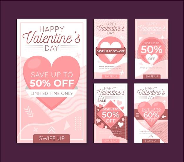Valentijnsdag instagram-verhalen ingesteld