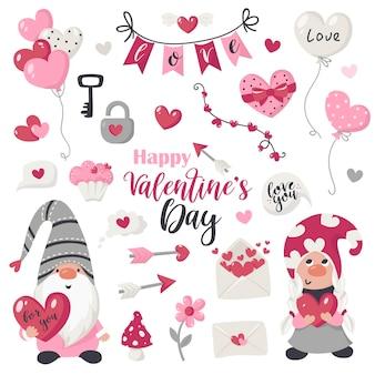 Valentijnsdag items en kabouters collectie. illustratie voor wenskaarten, kerstuitnodigingen en t-shirts