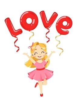 Valentijnsdag kaart concept. happy cartoon meisje met ballonnen met liefde inscriptie hierboven