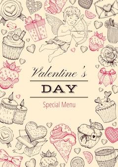 Valentijnsdag kaart menu. diner achtergrond. schets love restaurant voedselmenu.