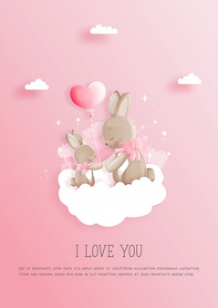 Valentijnsdag kaart met 2 schattige konijntjes, moederdag kaart.