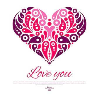 Valentijnsdag kaart met decoratief stijlvol hart. huwelijksuitnodiging