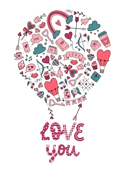 Valentijnsdag kaart met doodles en citaat