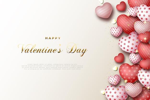Valentijnsdag kaart met glanzend goud schrijven.