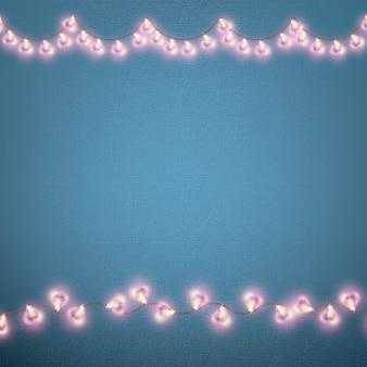 Valentijnsdag kaart met gloeiende lichten hartvorm.