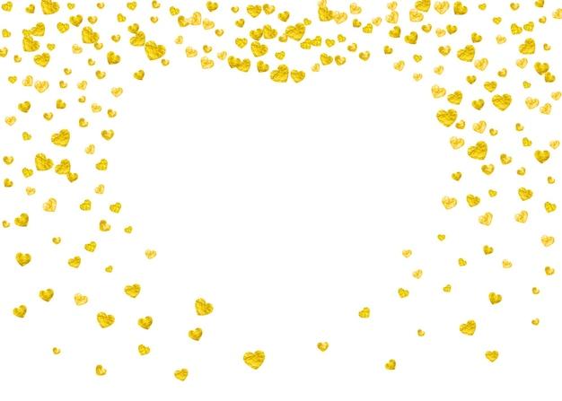 Valentijnsdag kaart met gouden glitter hartjes. 14 februari. vector confetti voor valentijnsdag kaartsjabloon. grunge hand getekende textuur. liefdesthema voor flyer, speciale zakelijke aanbieding, promo.