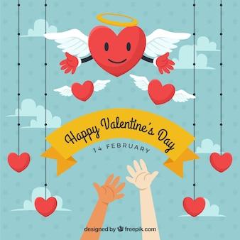 Valentijnsdag kaart met handen en harten opknoping